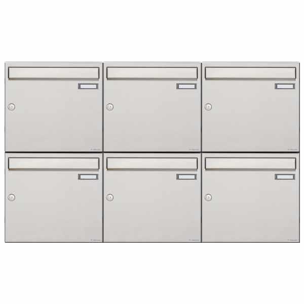 6er 2x3 Edelstahl Aufputz Briefkastenanlage Design BASIC 382A-AP
