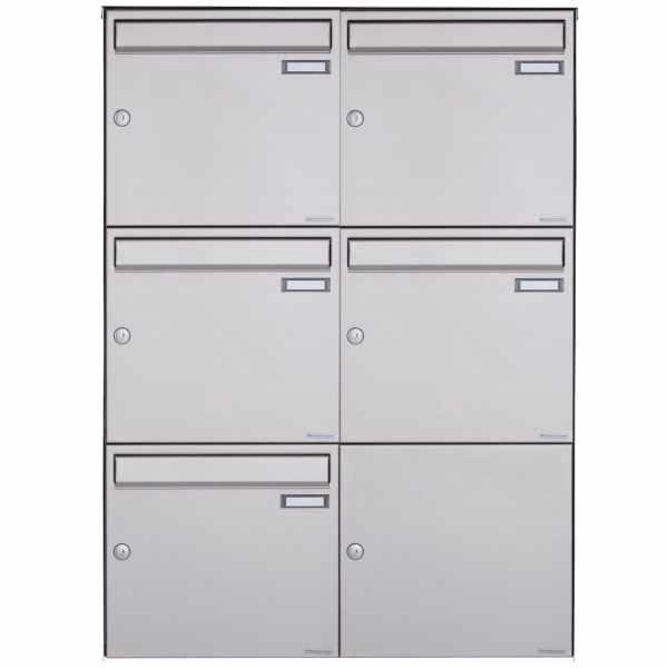 5er Edelstahl Aufputz Briefkasten Design BASIC Plus 382XA AP - Edelstahl V2A geschliffen