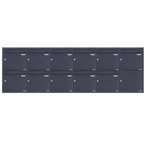 11er 6x2 Edelstahl Unterputz Briefkastenanlage BASIC Plus 382XU UP - RAL nach Wahl - 11 Parteien