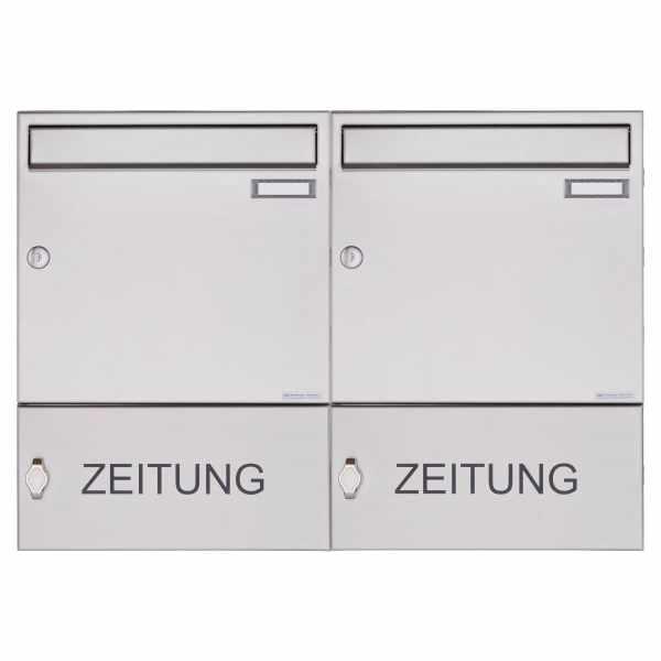 2er Edelstahl Aufputz Briefkasten Design BASIC 382A AP mit Zeitungsfach geschlossen