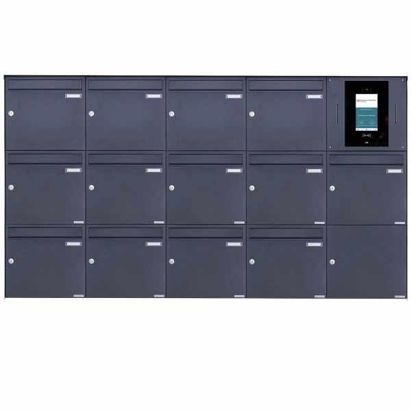13er 5x3 Edelstahl Aufputzbriefkasten BASIC Plus 382XA AP - RAL nach Wahl - STR Digitale Türstation