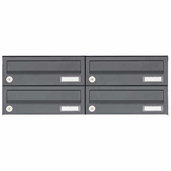 4er 2x2 Aufputz Briefkastenanlage Design BASIC 385A AP - RAL 7016 anthrazitgrau