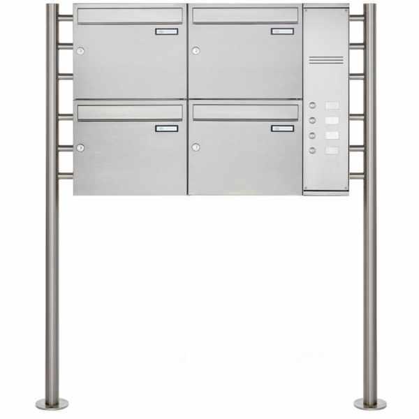 4er Edelstahl Standbriefkasten BASIC Plus 593 ST-R - Klingelkasten - INDIVIDUELL