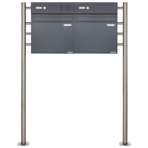 2er Standbriefkasten als Zaunbriefkasten BASIC 381Z-K7016 - anthrazitgrau RAL 7016 mit Klingelkasten
