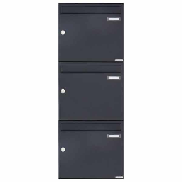 3er 3x1 Aufputz Briefkasten Design BASIC 382A AP - RAL 7016 anthrazitgrau