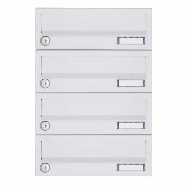 4er Aufputz Briefkastenanlage Design BASIC 385A-9016 AP - RAL 9016 verkehrsweiß