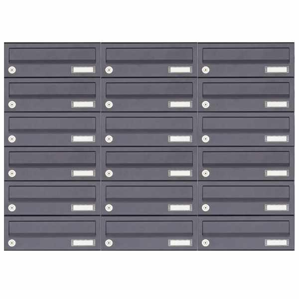 18er 6x3 Aufputz Briefkastenanlage Design BASIC 385A-7016 AP - RAL 7016 anthrazitgrau