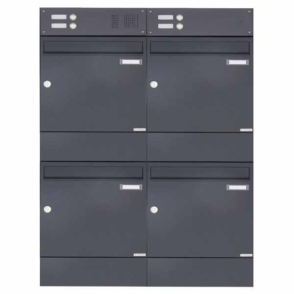 4er 2x2 Aufputz Briefkasten BASIC 382A AP mit Klingelkasten & Zeitungsfach - RAL 7016 anthrazitgrau