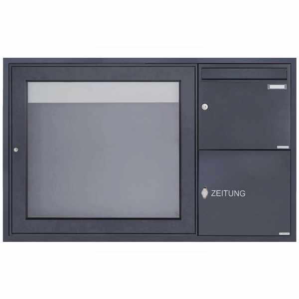 Unterputz Briefkasten mit Zeitungsfach & Schaukasten BASIC Plus 389 UP - 710x660 - RAL nach Wahl