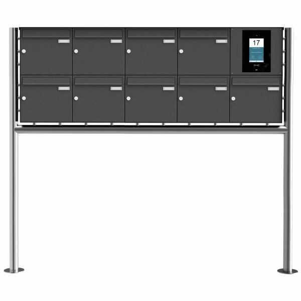 9er Edelstahl Standbriefkasten BASIC Plus 381X ST-R - RAL- STR Digitale Türstation - Komplettset