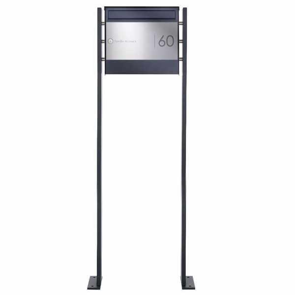 Edelstahl Standbriefkasten Design BASIC Plus 384X ST-P Elegance II - RAL nach Wahl