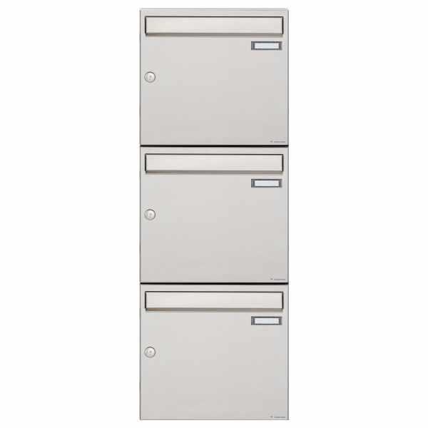 3er 3x1 Edelstahl Aufputz Briefkastenanlage Design BASIC 382A-AP