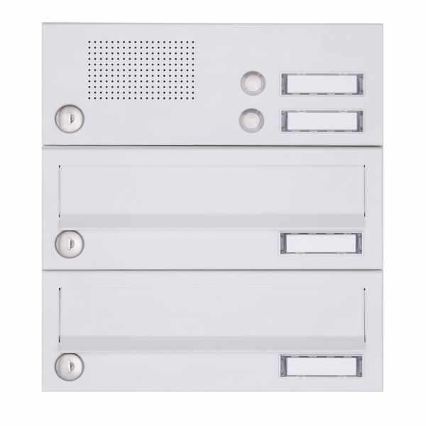 2er Aufputz Briefkastenanlage Design BASIC 385A-9016 AP mit Klingelkasten - RAL 9016 verkehrsweiß