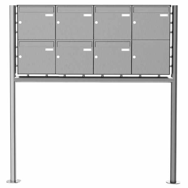 7er 2x4 Edelstahl Standbriefkasten Design BASIC Plus 381X ST-R - Edelstahl V2A geschliffen