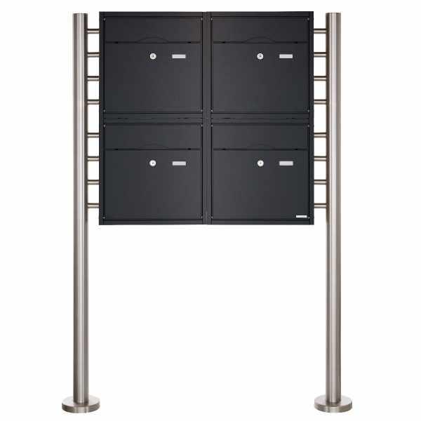 4er 2x2 Standbriefkasten PREMIUM BIG ST-R aus Edelstahl pulverbeschichtet in RAL nach Wahl