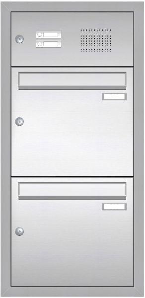 Edelstahl Unterputz Briefkastenanlage BASIC 534-UP - Klingel- Sprechstelle - 2 Parteien