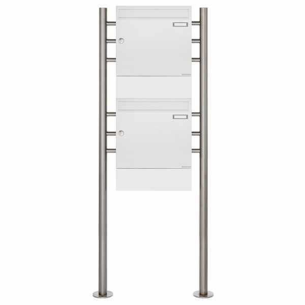 2er Standbriefkasten Design BASIC 381 ST-R mit Zeitungsfächer - RAL 9016 verkehrsweiß