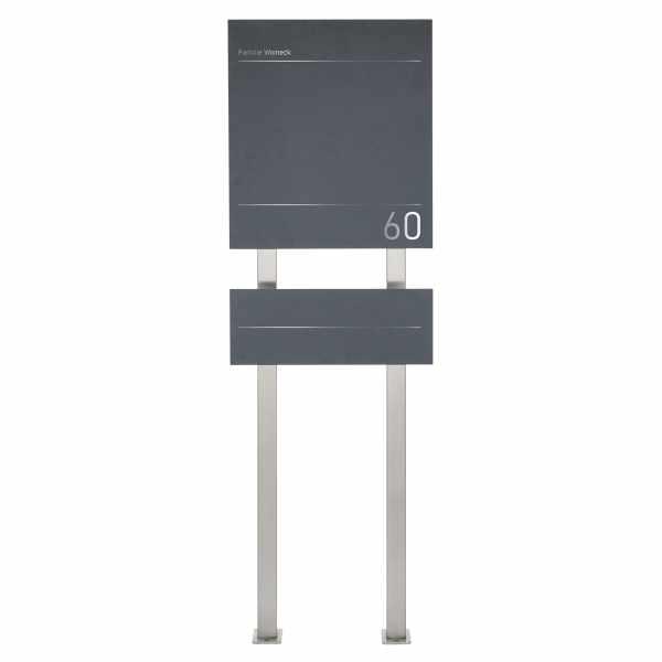 Design Edelstahl Standbriefkasten SCHILLER MEDIUM Elegance I - Hausnummer - Name - RAL nach Wahl
