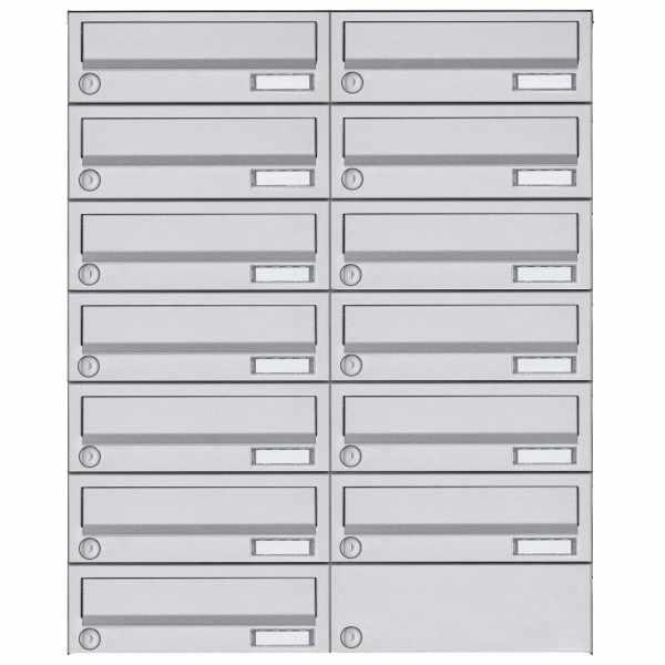 13er 7x2 Aufputz Briefkastenanlage Design BASIC 385A AP - Edelstahl V2A, geschliffen