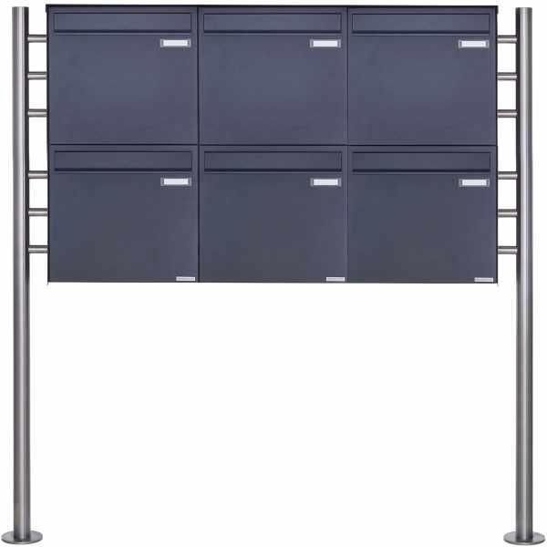 6er 2x3 Zaunbriefkasten freistehend Design BASIC Plus 381XZ ST-R - RAL nach Wahl
