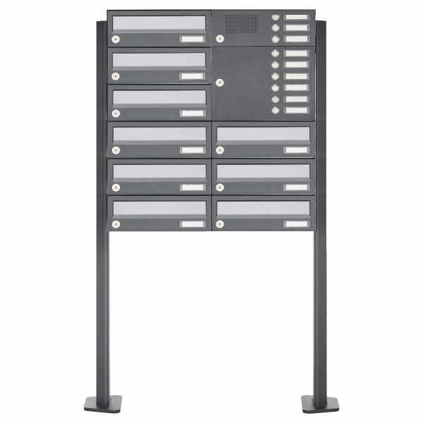 9er Standbriefkasten Design BASIC 385P ST-T mit Klingelkasten - Edelstahl-RAL 7016 anthrazit