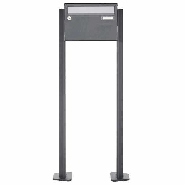 1er Briefkastenanlage freistehend Design BASIC Plus 385XP220 ST-T - Edelstahl-RAL nach Wahl