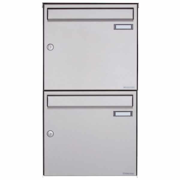 2er Edelstahl Aufputz Briefkasten Design BASIC Plus 382XA AP - Edelstahl V2A geschliffen