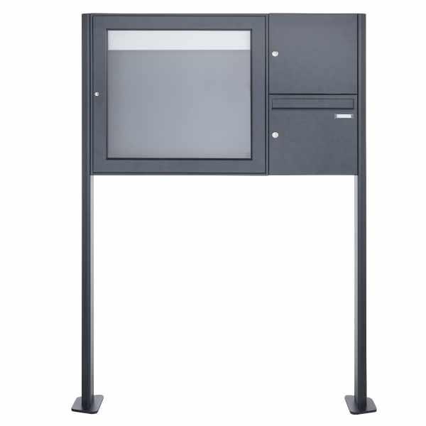 Standbriefkasten mit Schaukasten BASIC 3894 ST-T - 710x660 - RAL 7016 anthrazitgrau