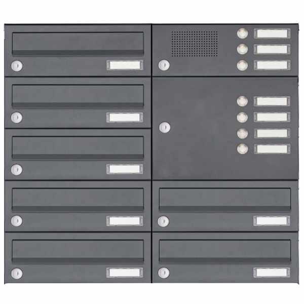 7er Aufputz Briefkasten Design BASIC Plus 385XA AP mit Klingelkasten - RAL nach Wahl