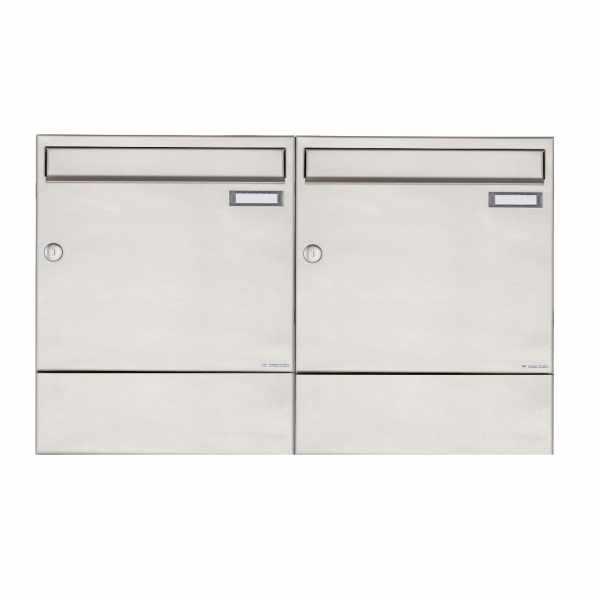 2er 1x2 Edelstahl Aufputz Briefkasten BASIC 382A AP mit Zeitungsfach
