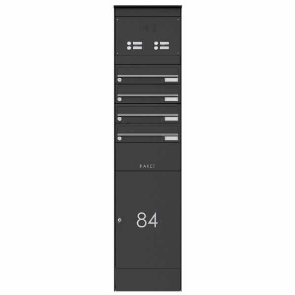 4er Edelstahl Briefkastenstele BASIC Plus 864X mit Paketfach 550x370 & Klingelkasten - RAL nach Wahl