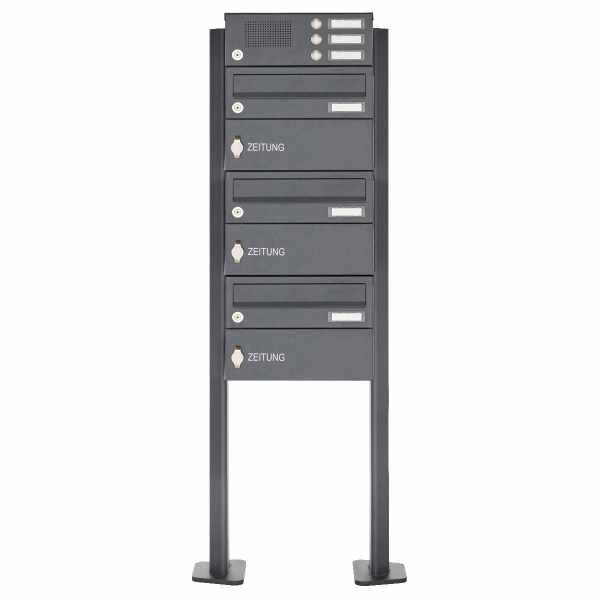 3er Standbriefkasten Design BASIC 385P-7016-SP-ZF mit Klingel-Funktionskasten - RAL 7016 anthrazit