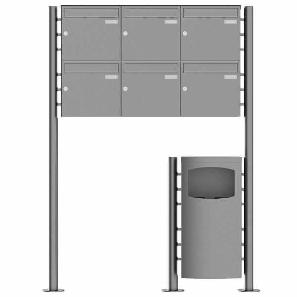 6er 2x3 Standbriefkasten Design BASIC Plus 381X ST-R mit Abfallbehälter - Edelstahl V2A geschliffen
