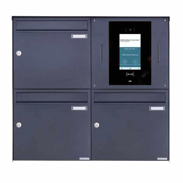 3er Edelstahl Aufputzbriefkasten BASIC Plus 382XA AP - RAL - STR Digitale Türstation - Komplettset