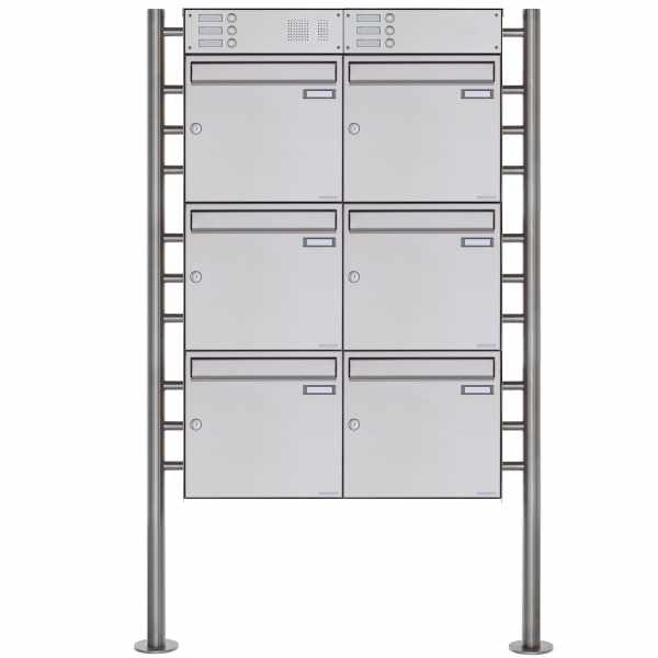 6er Standbriefkasten Design BASIC Plus 381X ST-R mit Klingelkasten - Edelstahl V2A geschliffen