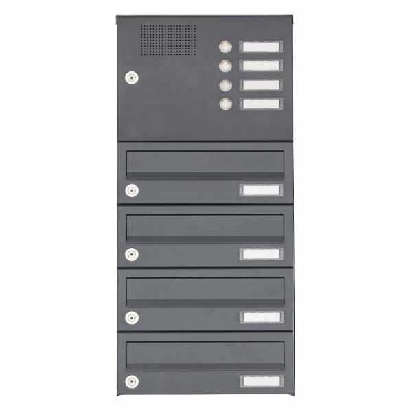 4er Aufputz Briefkastenanlage Design BASIC 385A AP mit Klingelkasten - RAL 7016 anthrazitgrau
