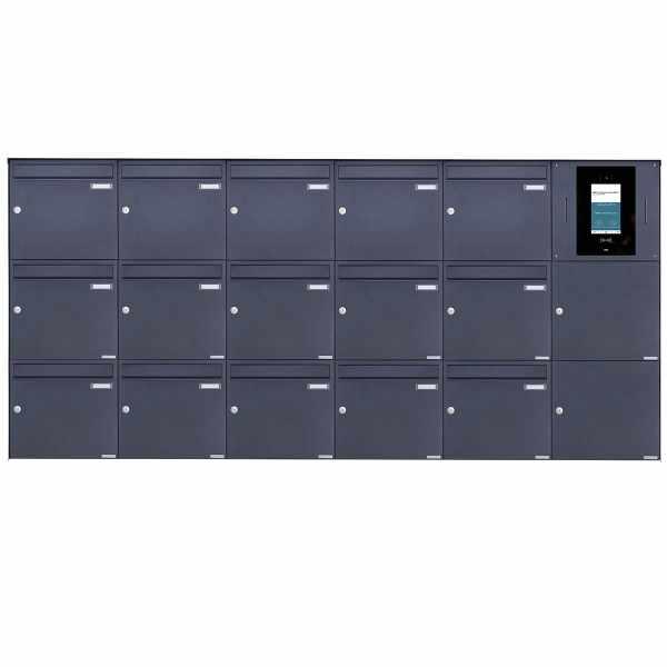 15er 6x3 Edelstahl Aufputzbriefkasten BASIC Plus 382XA AP - RAL nach Wahl - STR Digitale Türstation