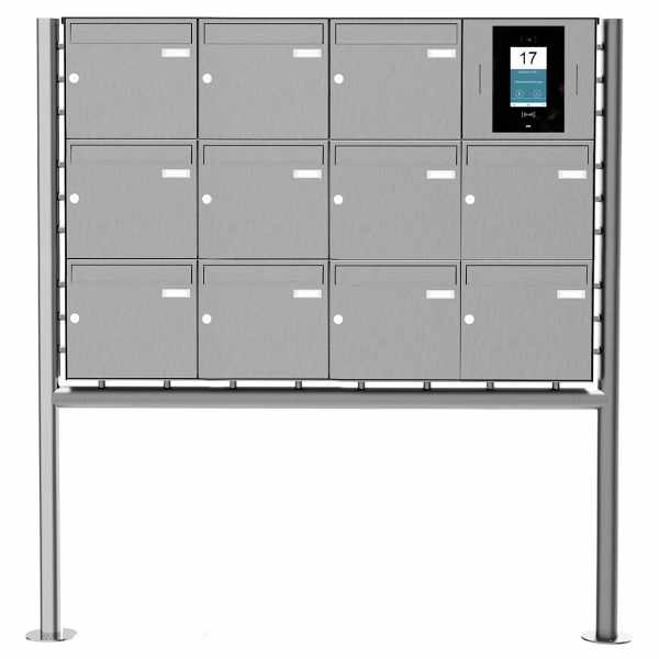 11er Edelstahl Standbriefkasten BASIC Plus 381X ST-R - STR Digitale Türstation - Komplettset