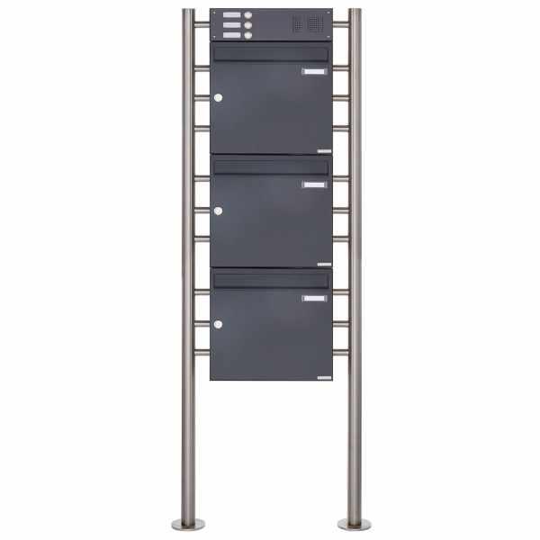3er 3x1 Standbriefkasten Design BASIC 381 ST-R mit Klingelkasten - RAL 7016 anthrazitgrau