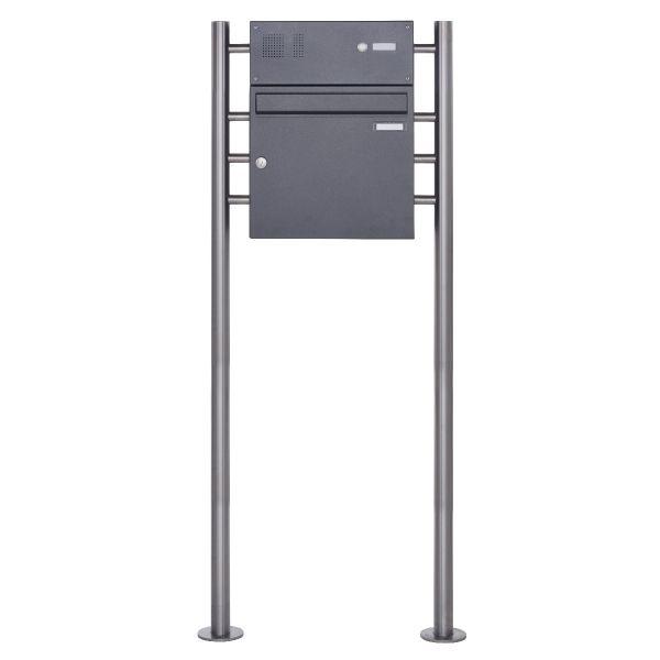 Standbriefkasten Design BASIC 381 ST-R mit Klingelkasten - DB703 eisenglimmer