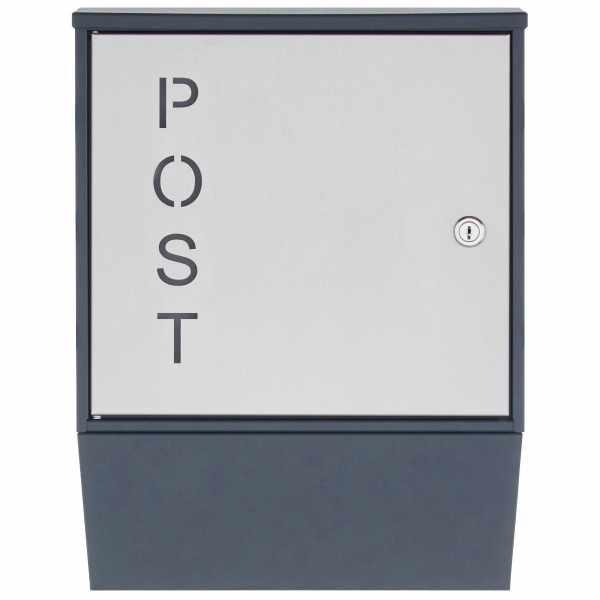 """Design Briefkasten GEORGE """"POST"""" mit Zeitungsfach - RAL 7016 anthrazitgrau"""
