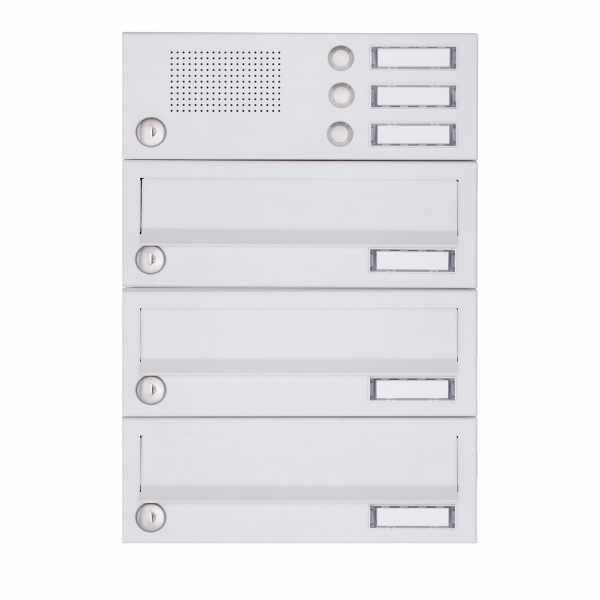 3er Aufputz Briefkastenanlage Design BASIC 385A-9016 AP mit Klingelkasten - RAL 9016 verkehrsweiß