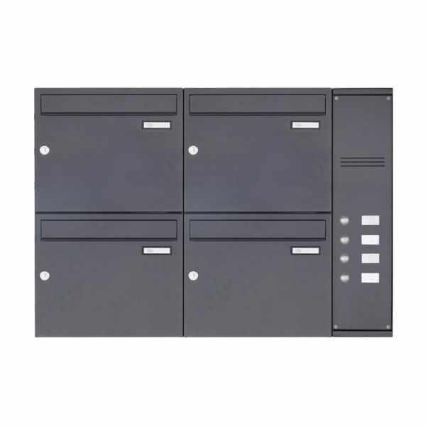 4er Edelstahl Aufputz Briefkasten BASIC Plus 592C AP pulverbeschichtet - Klingelkasten - INDIVIDUELL