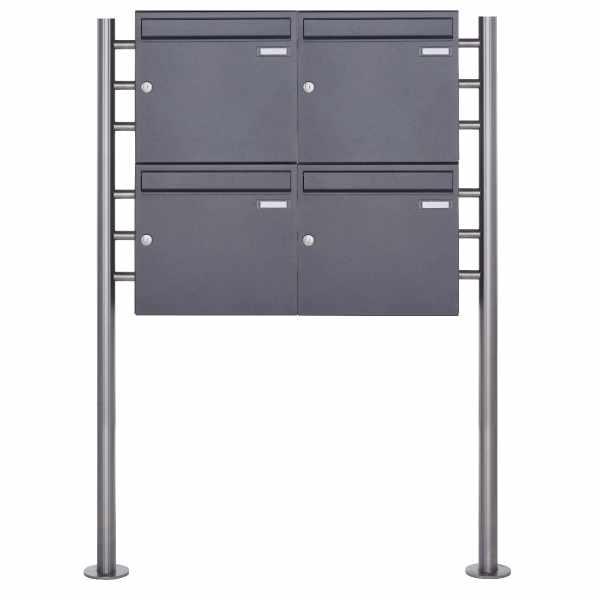 4er 2x2 Standbriefkasten Design BASIC 381 ST-R - DB703 eisenglimmer