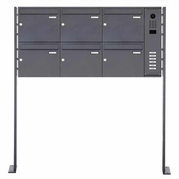 6er Edelstahl Standbriefkasten BASIC Plus 592C ST-P mit DoorBird D2100E Video- Sprechanlage - RAL