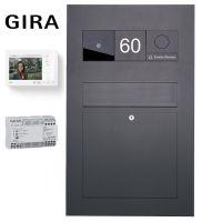 Edelstahl Briefkasten Designer BIG - RAL nach Wahl - GIRA System 106 - VIDEO Komplettset