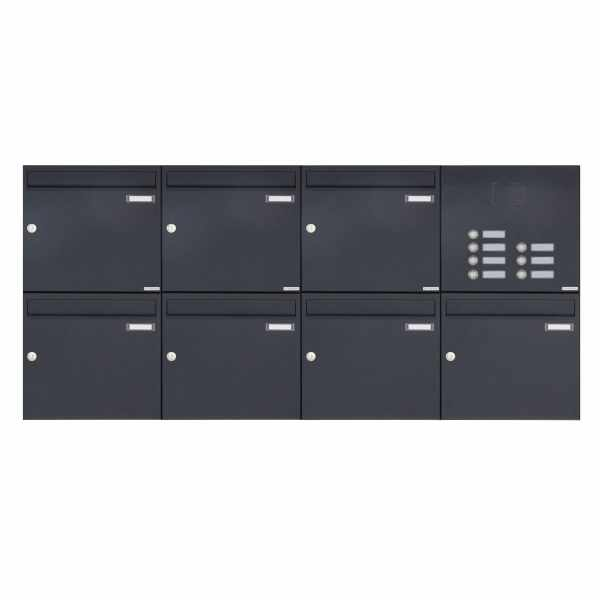 7er 2x4 Aufputz Briefkasten Design BASIC 382A AP mit Klingelkasten - RAL 7016 anthrazitgrau