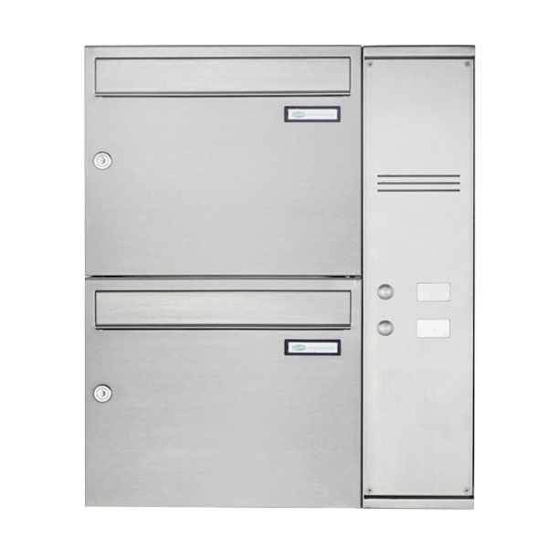 2er Edelstahl Aufputz Briefkasten Design BASIC Plus 592C AP mit Klingelkasten - INDIVIDUELL