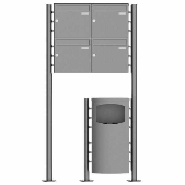4er 2x2 Standbriefkasten Design BASIC Plus 381X ST-R mit Abfallbehälter - Edelstahl V2A geschliffen