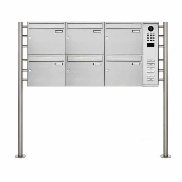 6er Edelstahl Standbriefkasten BASIC Plus 593R ST-R mit DoorBird D2100E Video- Sprechanlage